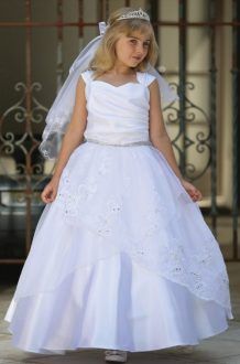 wholesale first communion dresses     FirstCommunions com Embroidered Organza First Communion Dress