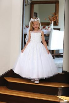 wholesale first communion dresses     FirstCommunions com First Communion Dress with Floral Lace Appliques