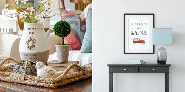 """Tuesday Turn About Features from First Day of Home - Coffee Table Tray Decor and Fall Printable Art with the phrase """"You had me at Hello Fall"""""""