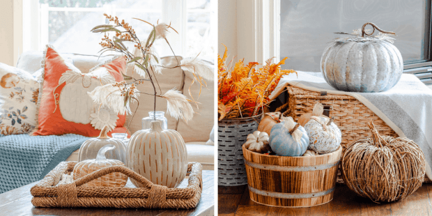 Tuesday Turn About - First Day of Home recent posts - Fall Home Tour with coffee table decor and pumpkin display in living room