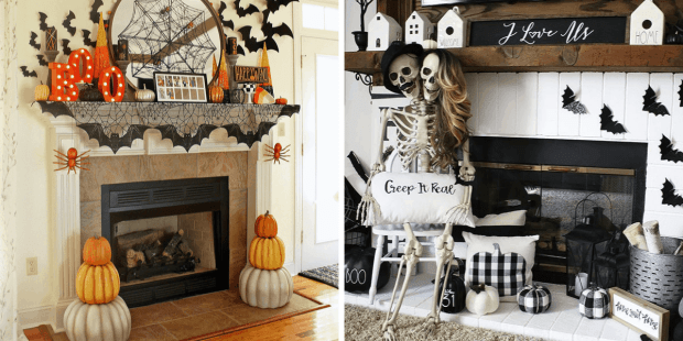 Halloween mantels with orange, yellow and black and black and white theme