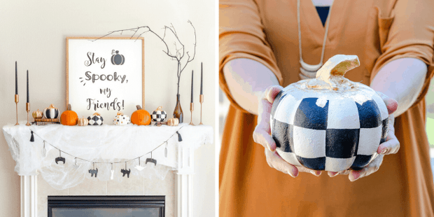 Tuesday Turn About featured Halloween mantel and designer inspired painted foam pumpkins by First Day of Home