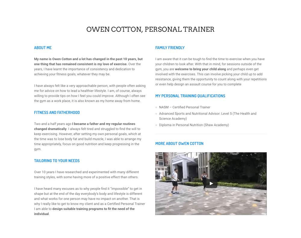 MAD Training + Nutrition About Me Screenshot - First Days Digital Portfolio