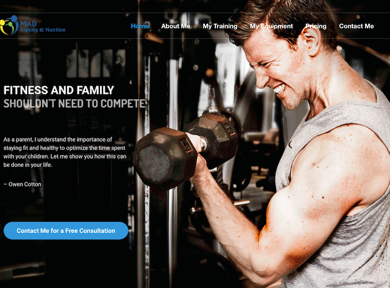 MAD Training + Nutrition Homepage Screenshot - First Days Digital Portfolio