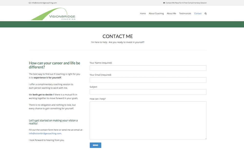 Visionbridge Coaching Contact Me Screenshot - First Days Digital Portfolio