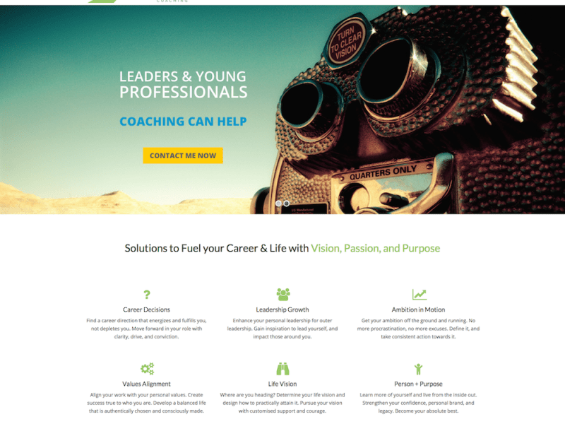 Visionbridge Coaching Homepage Screenshot - First Days Digital Portfolio