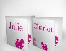Geboortekaartje Julie (2010) en Charlot (2012)