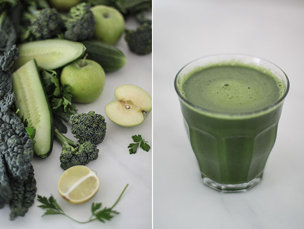 Kale, apples, parsley, cucumber, broccoli & lime.
