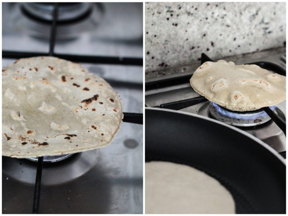 Chapati on a flame
