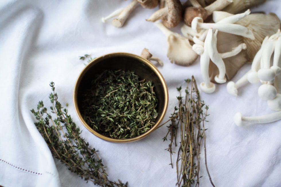 Sprigs of thyme for a burnt butter and wild mushroom sauce