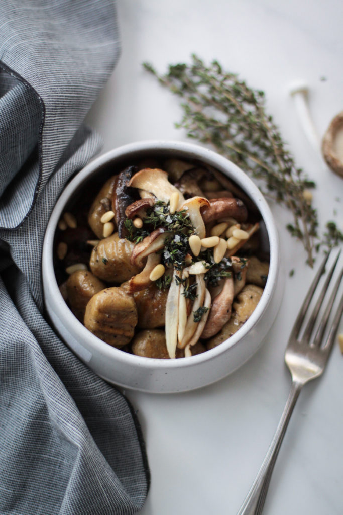 Sweet potato gnocchi with wild mushrooms and thyme.