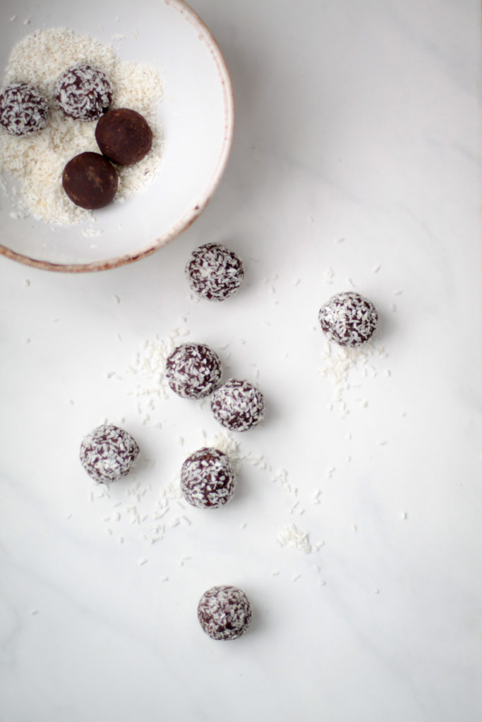 Raw chocolate date and almond truffles