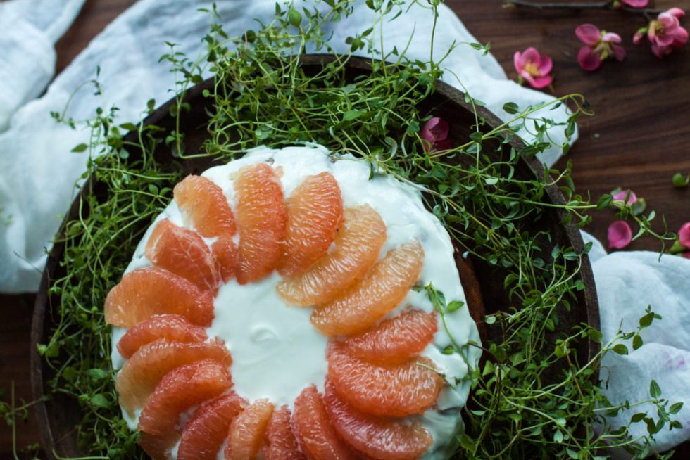 Gluten free, sugar free ricotta and almond cake with grapefruit zest. Served with whipped coconut cream