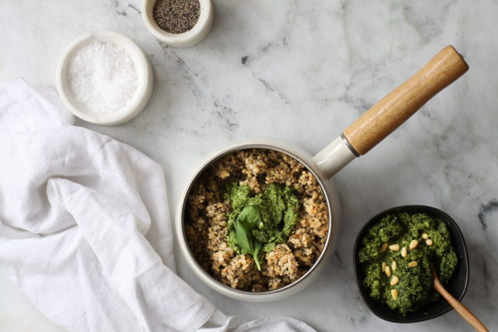 Multigrain mix risotto with basil pesto overhead view