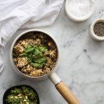 Multigrain mix risotto with basil pesto overhead view