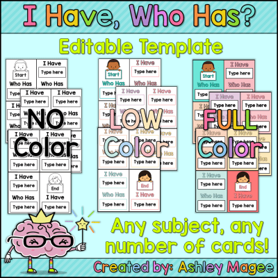 I Have Who Has templates