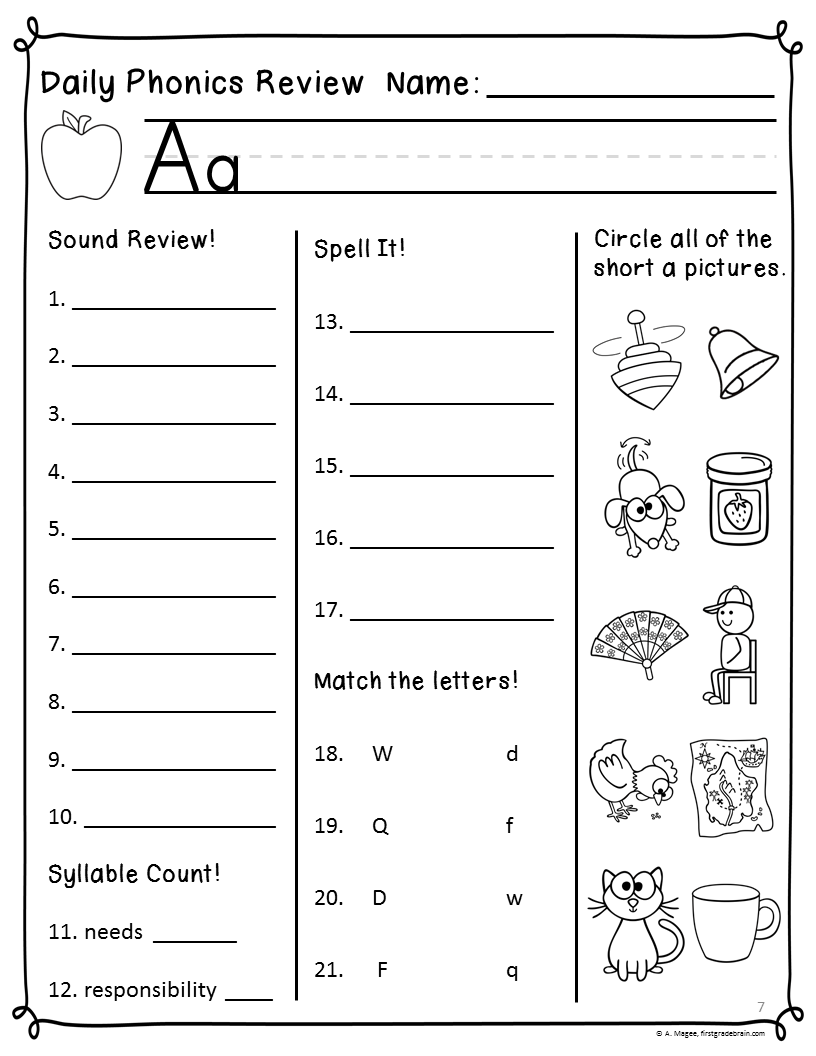 worksheet Third Grade Phonics Worksheets daily phonics review sheets works with or without scott foresman a strip where students will practice writing the lettersound of week first 10 questions cover sounds i am followin