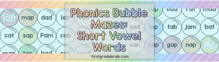 Phonics Bubble Mazes: Short Vowel Words