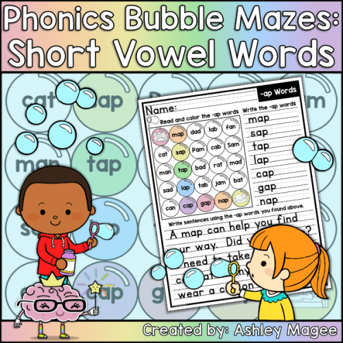 Phonics Bubble Mazes Short Vowel Words