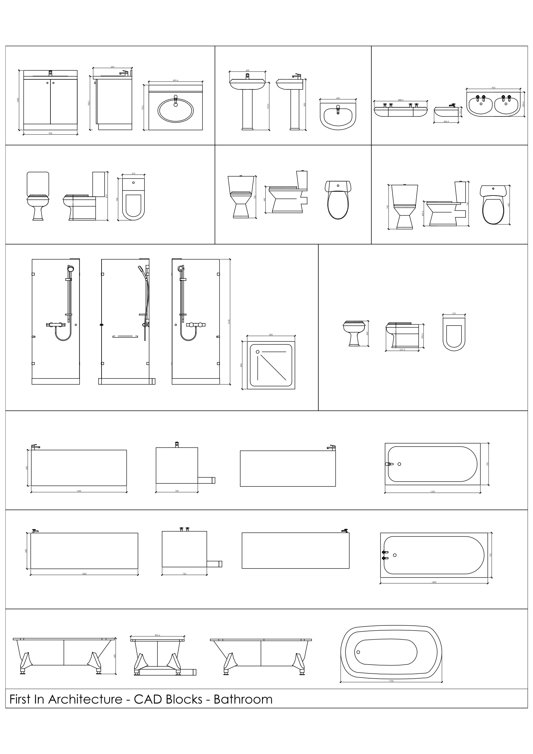 Bathroom Stalls Cad free cad blocks - bathroom | first in architecture