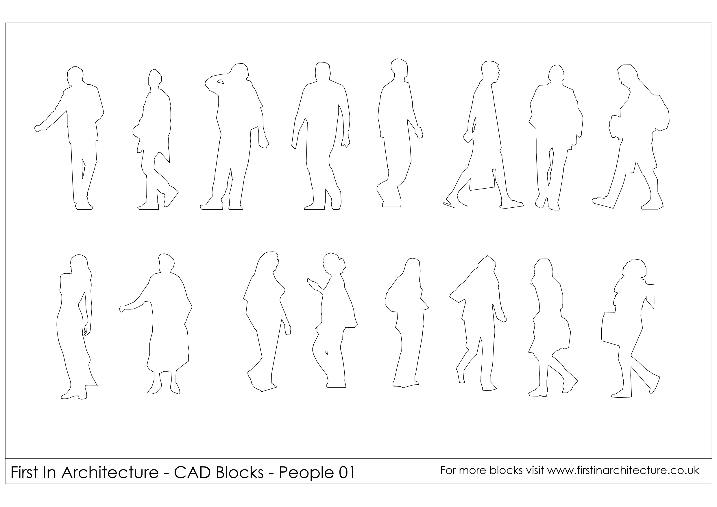 Architecture People cad blocks - people 01 | first in architecture