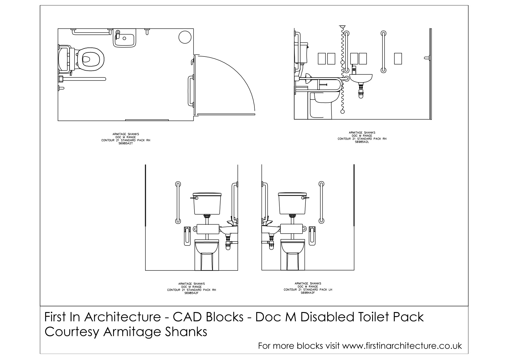 dimensions of a disabled toilet. This set of cad blocks consists the Building Regulation Document M Disabled  Toilet comes courtesy Armitage Shanks Free CAD Blocks Doc First In Architecture