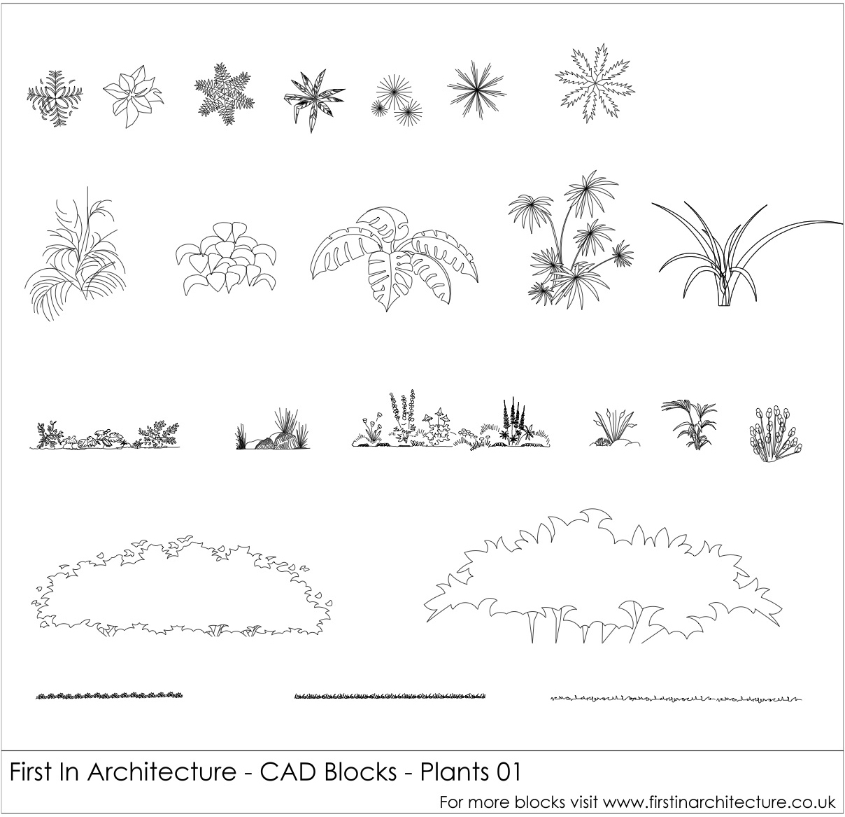 Free CAD Blocks – Plants and Bushes 01