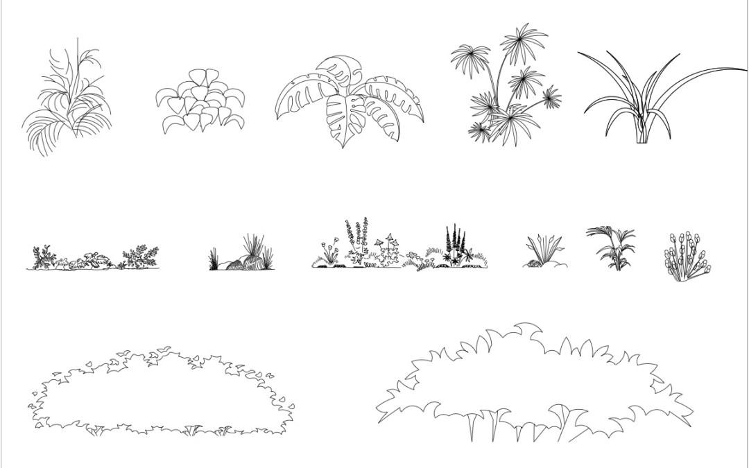 Free CAD Blocks – Plants and Bushes 01