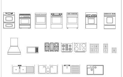 Free CAD Blocks – Kitchen 02