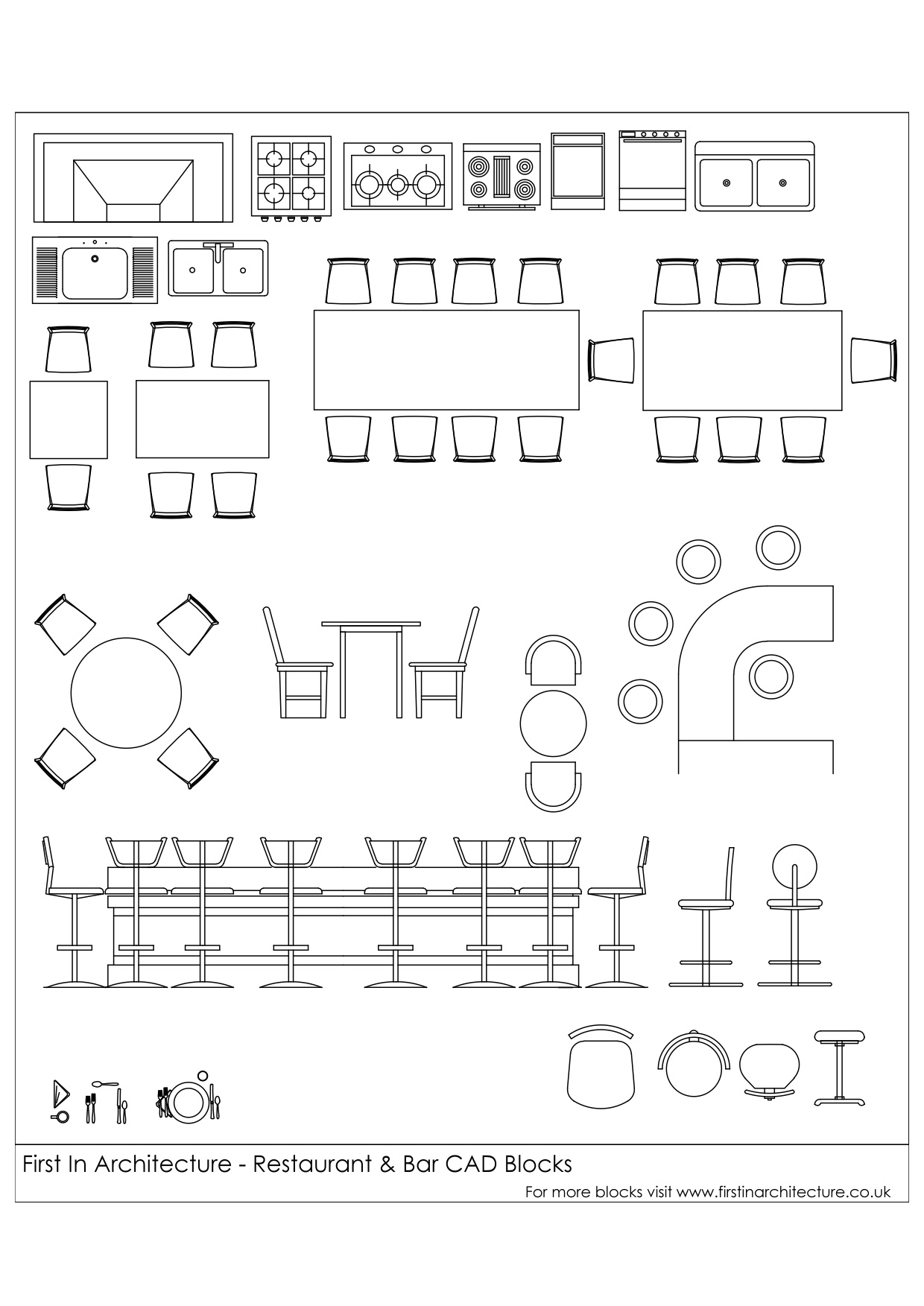 Free CAD Blocks – Restaurant and bar  First In Architecture