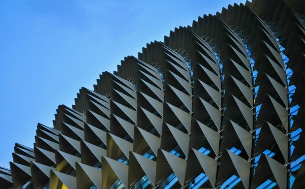 Abstract Detail On The Side Of Contemporary Building In Singapore