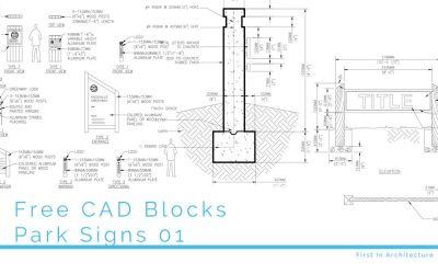 Free CAD Blocks – Park Signs 01