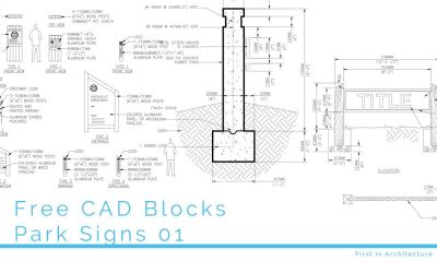 Free CAD Blocks – Park Signs 01