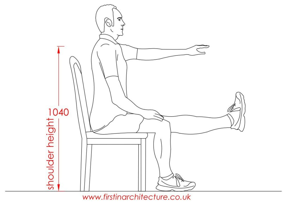 13 Shoulder height of man sitting