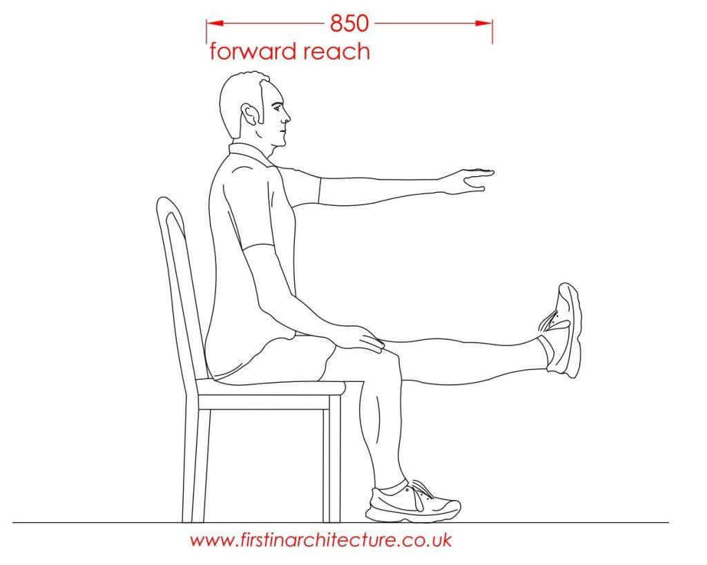 16 Forward reach of man sitting