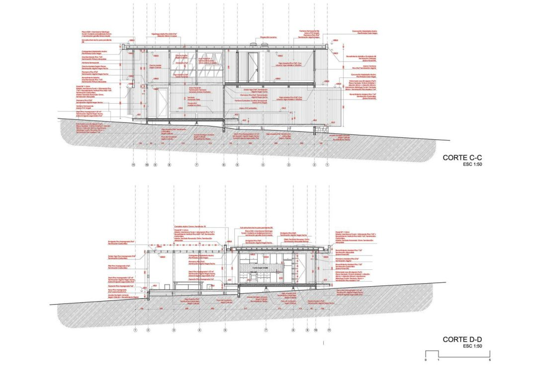Section construction drawing