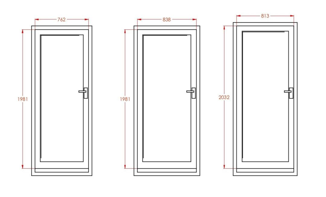 Standard door sizes ext imp ele