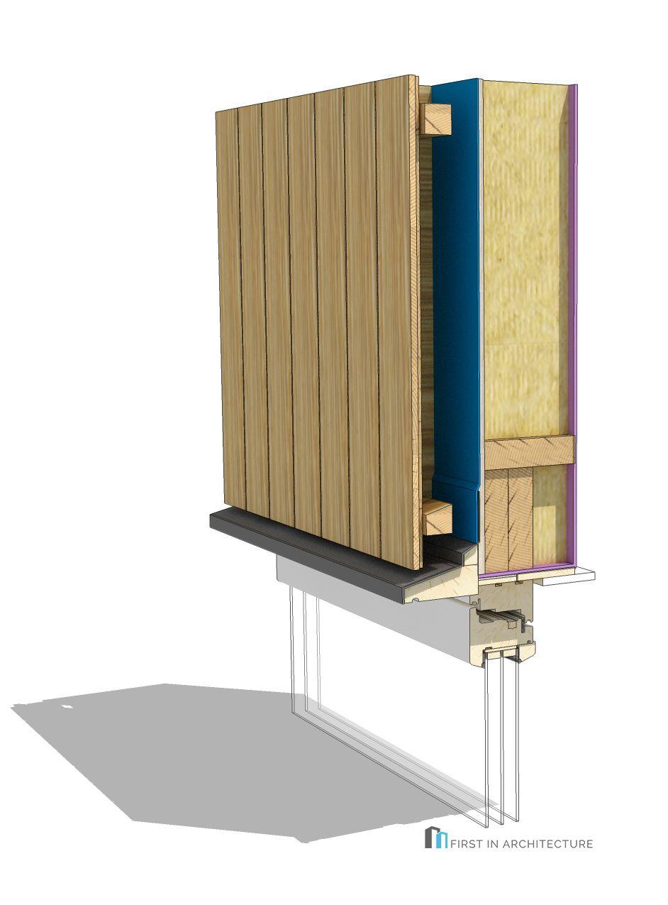 Vertical Timber Cladding Details Window head 3D16