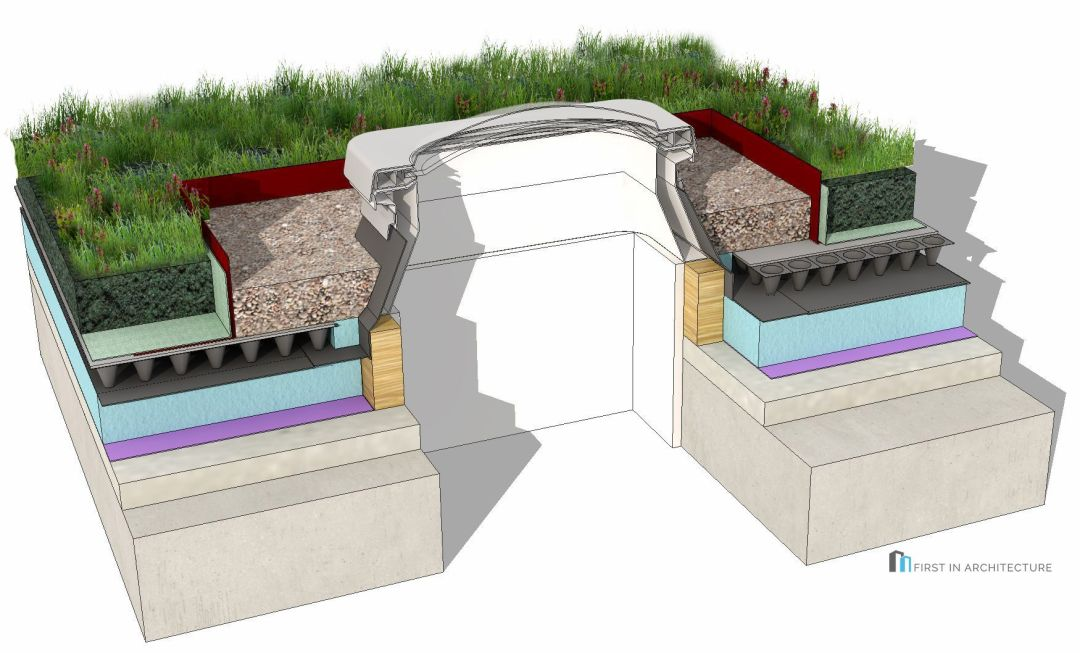 Green Roof Detail Rooflight 3D