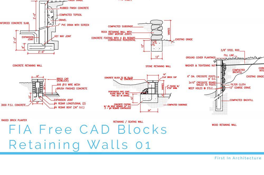 FIA Free CAD Blocks Retaining Walls 01