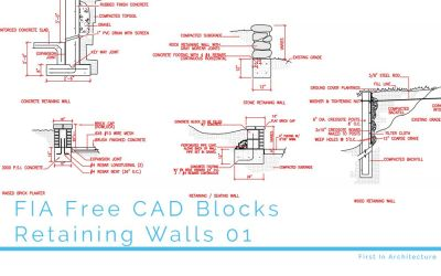 FIA Free CAD Blocks Retaining Walls 01