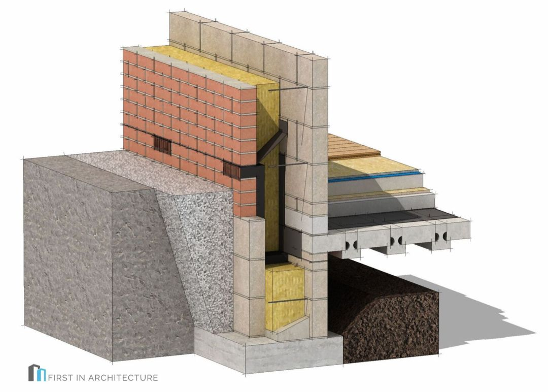 Passivhaus foundation detail masonry 3d