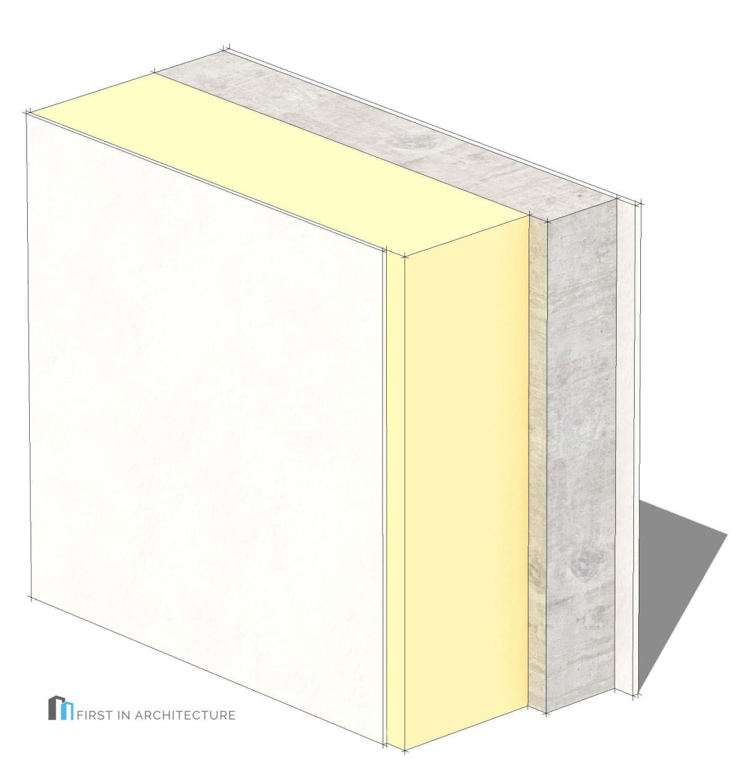 Solid concrete with rendered external insulation Passivhaus wall detail 3D