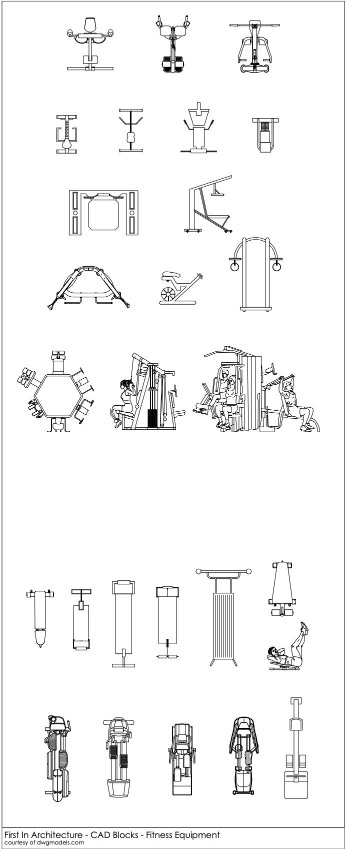 FIA CAD Blocks Fitness Equipment 2