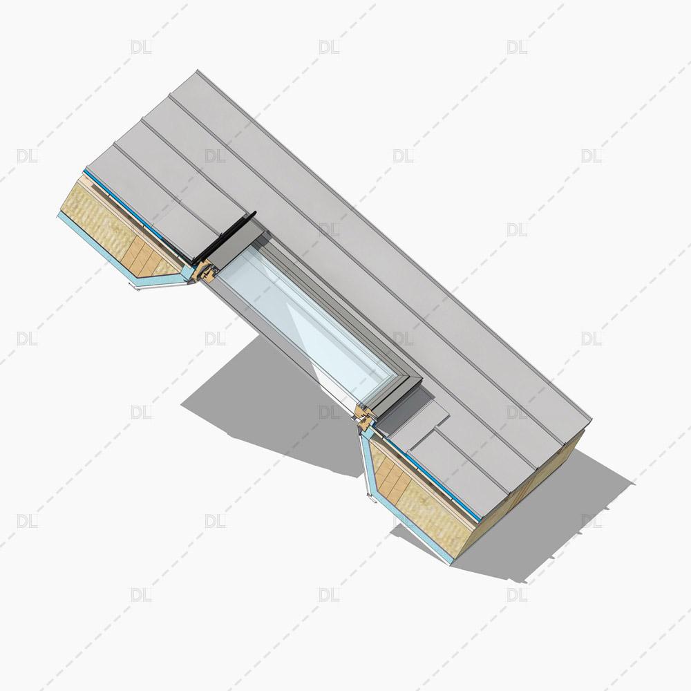 Standard rooflight detail on standing seam roof