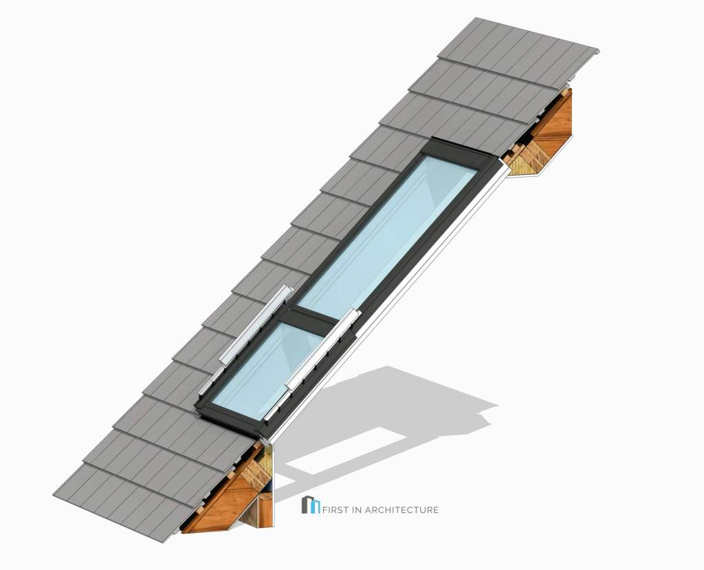 Velux balcony rooflight detail 3DLC22