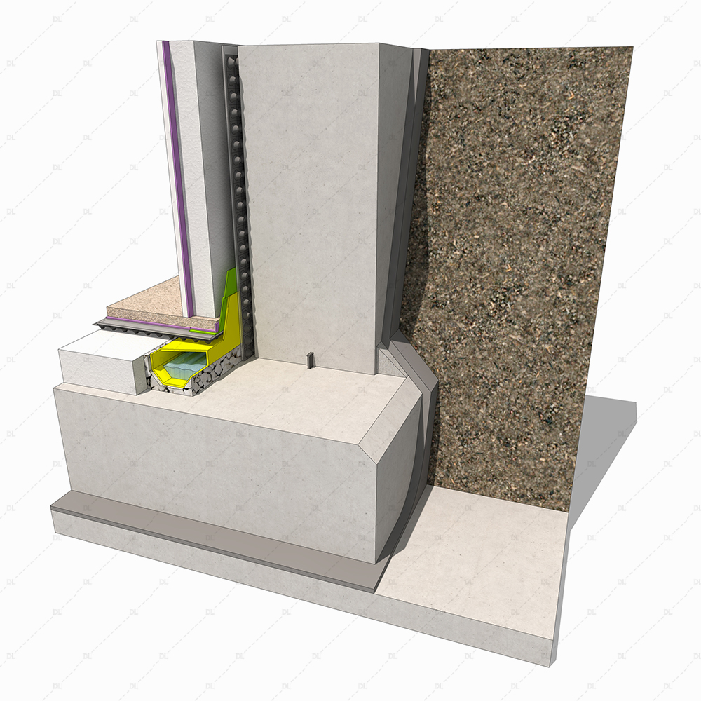 Basement with internal drainage detail