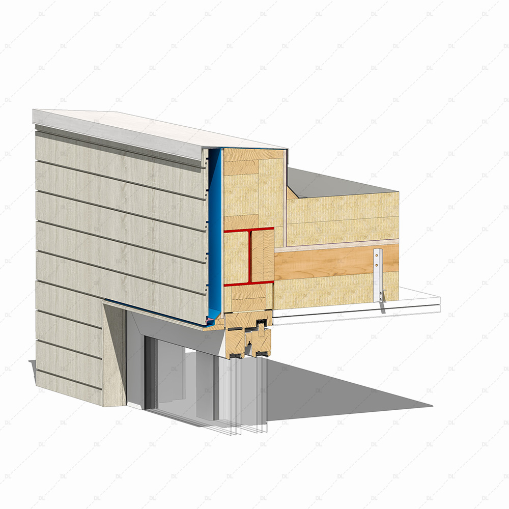 DL21 timber lift and slide door head detail thumb 3D
