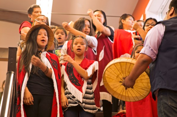 Kitkatla singers and drummers perform at celebration.