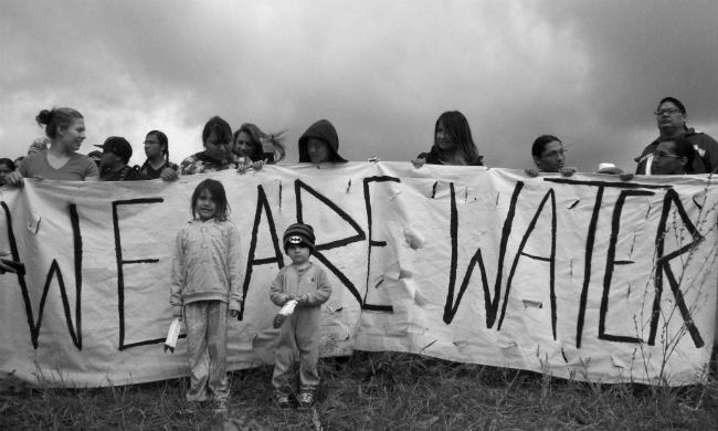 Last week, the front lines of protesters blocking the Dakota Access pipeline looked like this. Photo: Desiree Kane / YES! Magazine